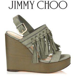 Jimmy Choo Nya Suede Fringe Wedge Sandal